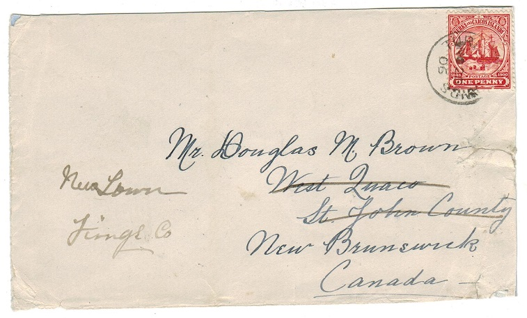 TURKS AND CAICOS IS - 1905 1d rate cover to Canada used at TURKS ISLANDS.