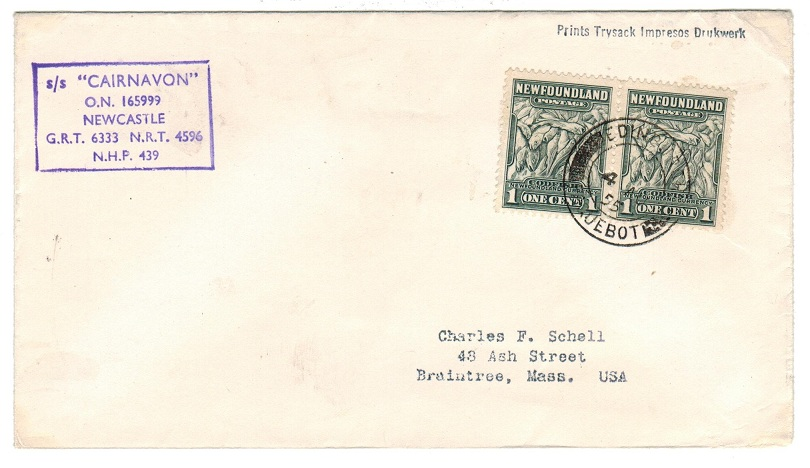 NEWFOUNLAND - 1955 maritime cover to USA cancelled by EDINBURGH/PAQUEBOT cds.
