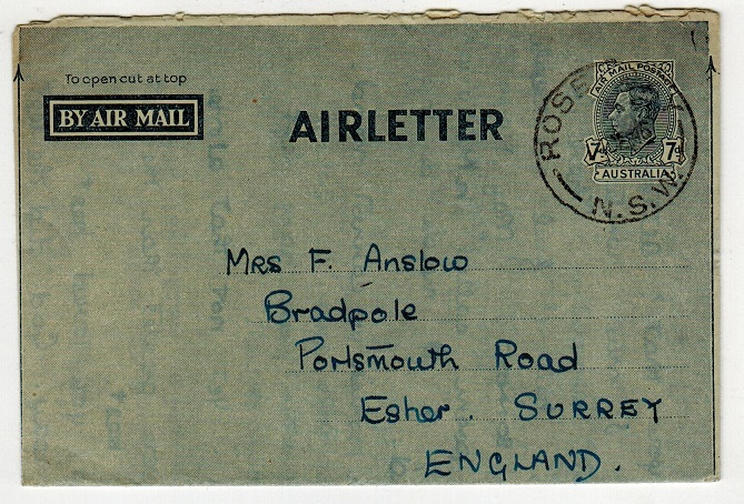 AUSTRALIA - 1945 7d postal stationery air letter to UK used at ROSE DAY/NSW.  H&G 2.