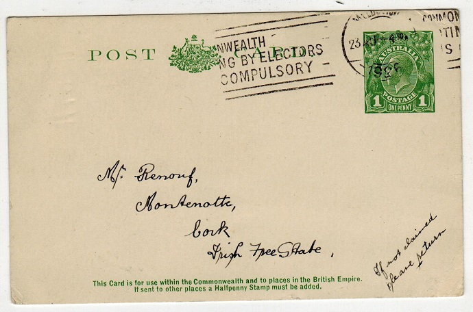 AUSTRALIA - 1924 1d PSC to Ireland used at MELBOURNE.  H&G 25.