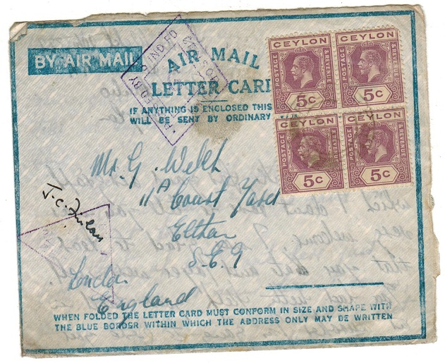 CEYLON - 1942 (circa) use of censored FORMULA AIR MAIL/LETTER CARD by troops in Ceylon.