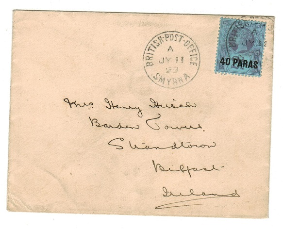 BRITISH LEVANT - 1899 40p on 2 1/2d rate cover to UK used at SMYRNA.