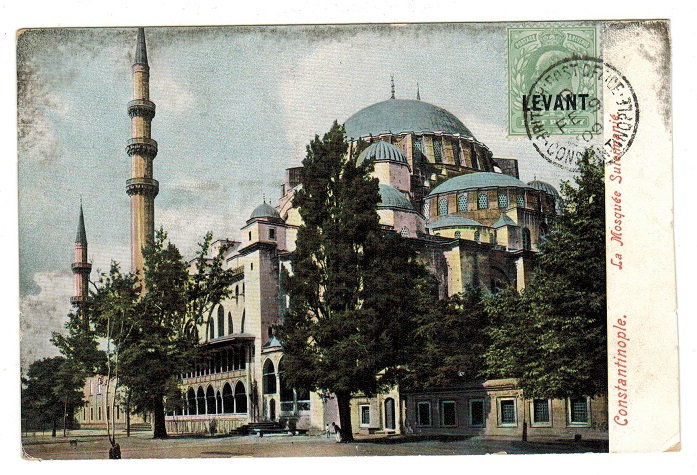 BRITISH LEVANT - 1909 1/2d rate postcard use to UK used at CONSTANTINOPLE.