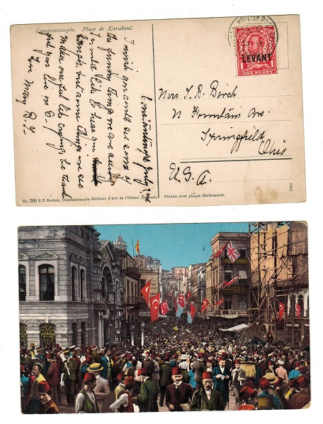 BRITISH LEVANT - 1912 1d rate postcard use to USA used at CONSTANTINOPLE.