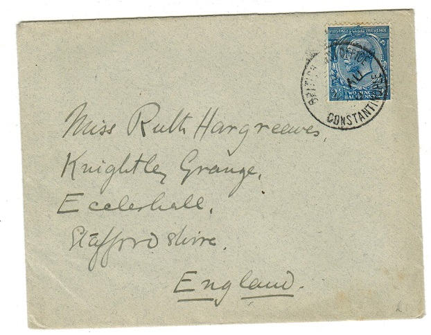 BRITISH LEVANT - 1920 2 1/2d rate (SG Z287) on cover to UK used at CONSTANTINOPLE.