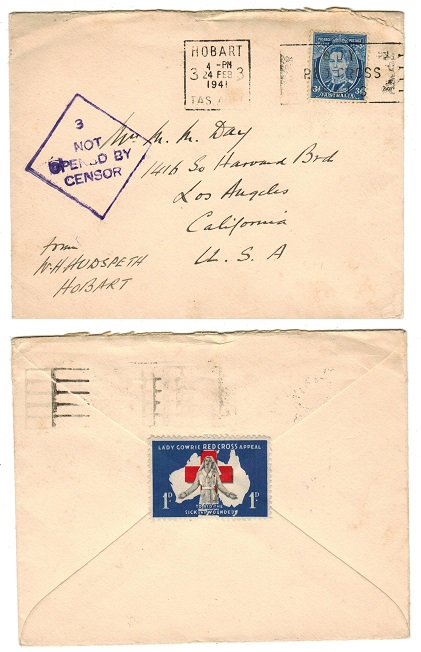 AUSTRALIA - 1941 NOT OPENED BY CENSOR cover to USA with LADY GOWRIE 1d seal on reverse.
