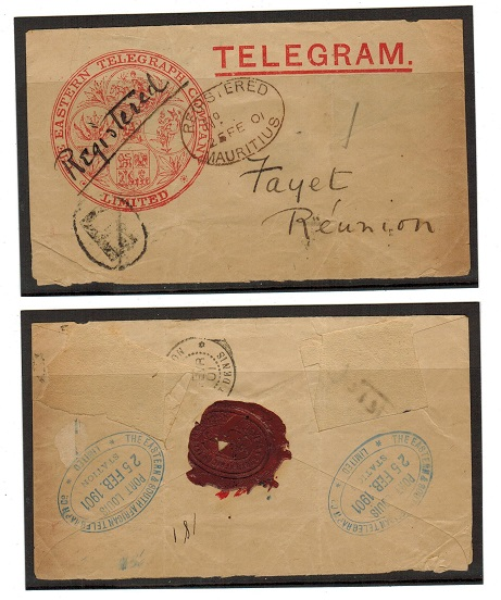MAURITIUS - 1901 TELEGRAM envelope (ex stamps) addressed to Reunion Island