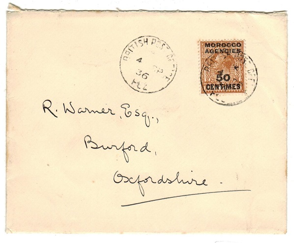 MOROCCO AGENCIES - 1936 50c/5d cover to UK used at FEZ.