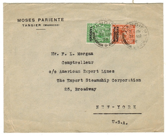 MOROCCO AGENCIES - 1932 commercial cover to UK used at TANGIER.