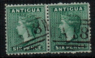 ANTIGUA - 1872 6d pair cancelled