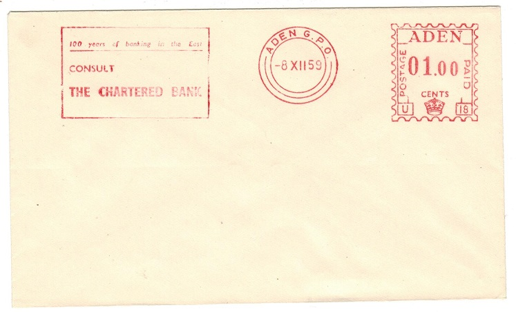 ADEN - 1959 ADEN/POSTAGE PAID/01.00 red TRIAL METER MARKING cover.