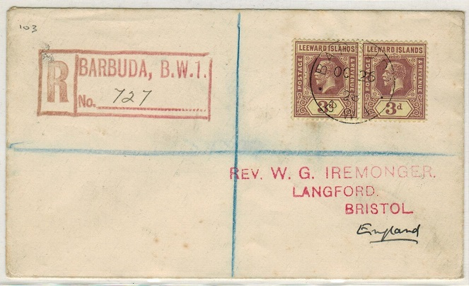 BARBUDA - 1928 registered cover to UK with Leeward ISLAND 3d pair used at BARBUDA.