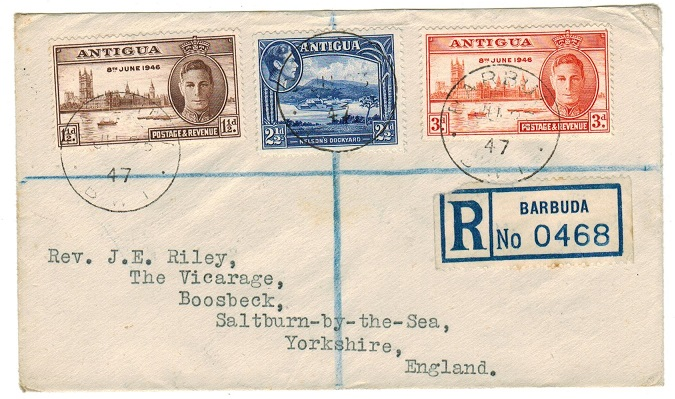 BARBUDA - 1947 registered cover to UK used at BARBUDA.
