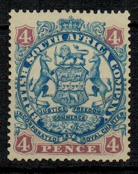 RHODESIA - 1896 4d blue and mauve mint. SG 44a.