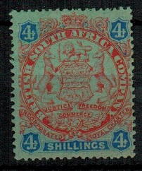 RHODESIA - 1896 4/- orange red and blue on green mint.  SG 37.