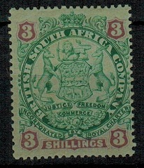RHODESIA - 1896 3/- green and mauve on blue mint.  SG 36.