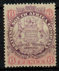 RHODESIA - 1896 6d mauve and pink mint.  SG 33.