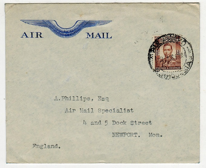 SOUTHERN RHODESIA - 1938 first flight cover to UK.