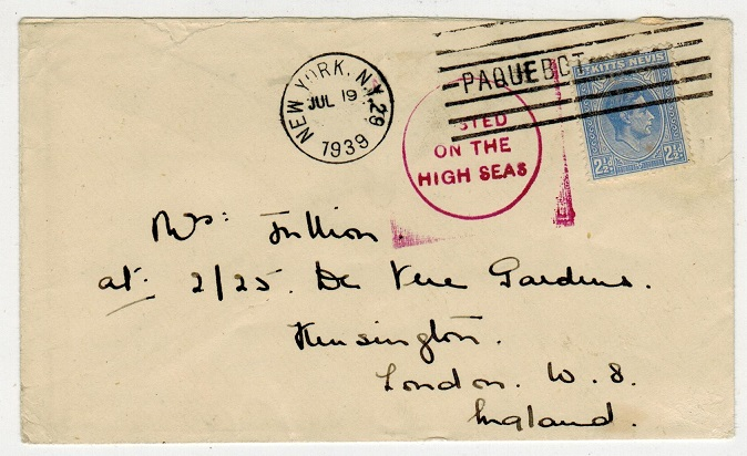 ST.KITTS - 1939 2 1/2d rate maritime cover to UK.