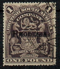 RHODESIA - 1909 £1 Grey-purple used.  SG 113b.