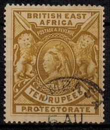 BRITISH EAST AFRICA - 1897 10r yellow-bistre used.  SG 97.