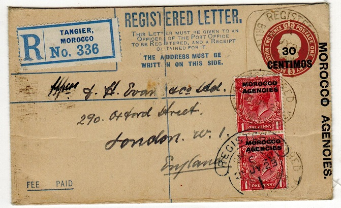 MOROCCO AGENCIES - 1912 30c on 2d+1d RPSE to UK used at Tangier.  H&G 8.