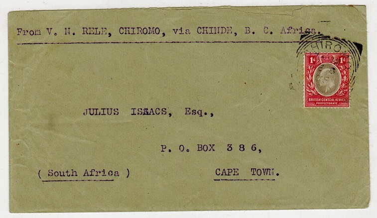 NYASALAND - 1905 1d rate cover to Cape Town used at CHIROMO.
