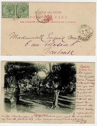 ST.LUCIA - 1902 1d rate postcard used to France.