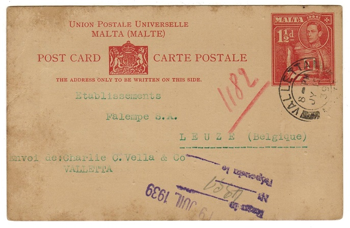 MALTA - 1939 1 1/2d dark red PSC to Belgium used at Valletta.  H&G 17.
