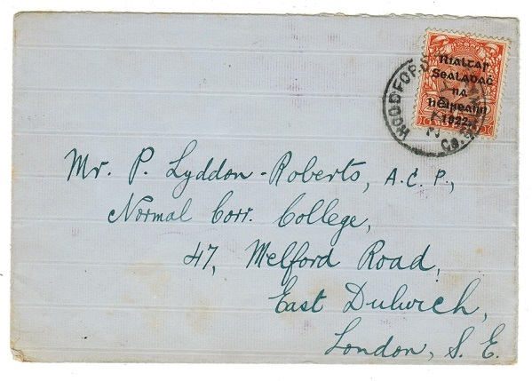 IRELAND - 1922 2d rate cover to UK used at WOODFORD.