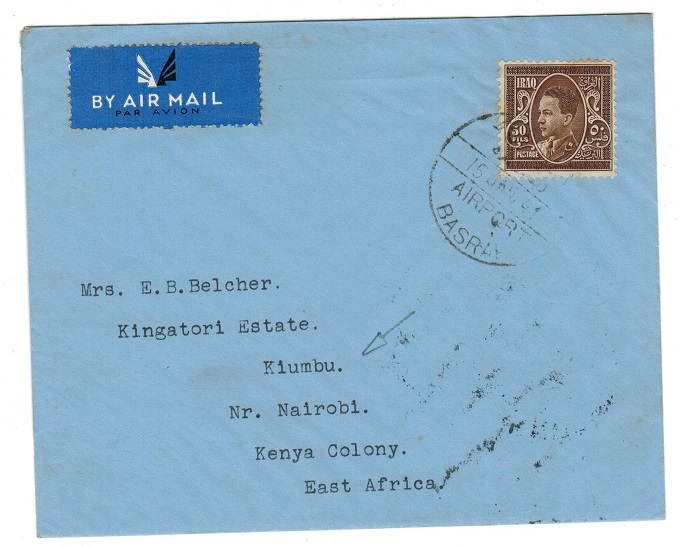 IRAQ - 1941 50f rate cover to Kenya used at Basra airport.