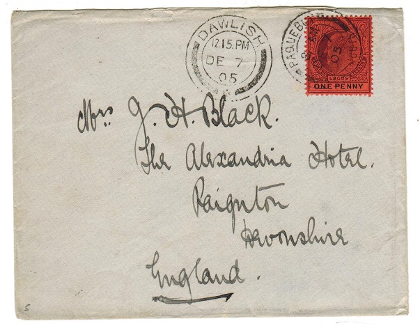 LAGOS - 1905 1d rate cover to UK with Paquebot usage.