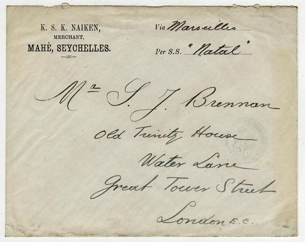 SEYCHELLES - 1906 6c rate commercial cover to UK.