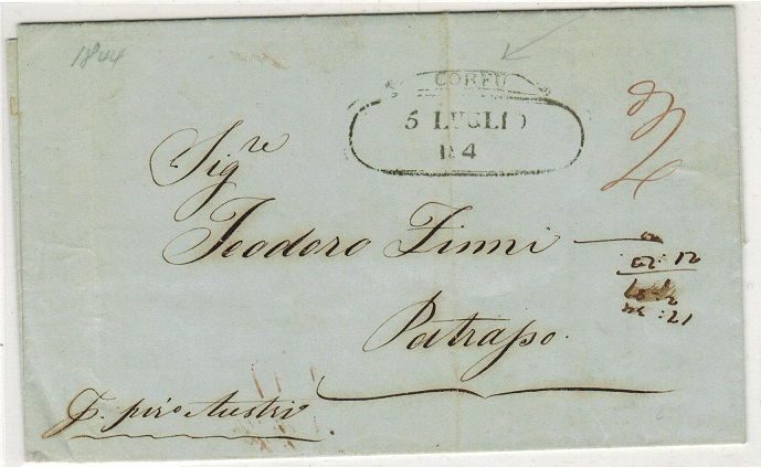 BR.PO.USED ABROAD (Corfu) - 1844 stampless entire used at CORFU.