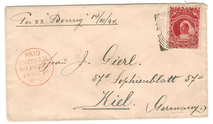 NIGER COAST - 1894  2 1/2d rate cover to Germany used at CALABAR.