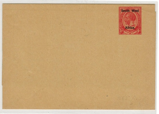 SOUTH WEST AFRICA - 1923 1d red unused postal stationery wrapper.  H&G 7.