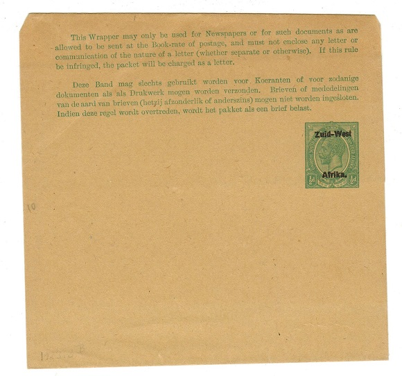 SOUTH WEST AFRICA - 1923 1/2d green unused postal stationery wrapper.  H&G 6.