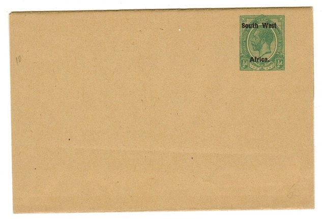 SOUTH WEST AFRICA - 1923 1/2d green unused postal stationery wrapper.  H&G 5.