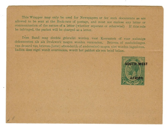 SOUTH WEST AFRICA - 1923 1/2d green unused postal stationery wrapper.  H&G 1.