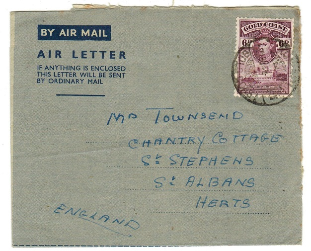 GOLD COAST - 1942 use of FORMULA air letter to UK used at KUMASI.