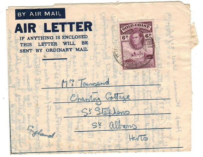 GOLD COAST - 1945 use of FORMULA air letter to UK used at KUMASI.