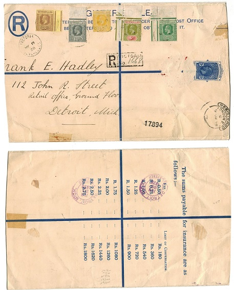 SEYCHELLES - 1916 20c RPSE used to USA (faults) used at VICTORIA.  H&G 3a.