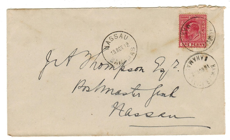 BAHAMAS - 1912 1d rate local cover used at HARBOUR ISLAND.