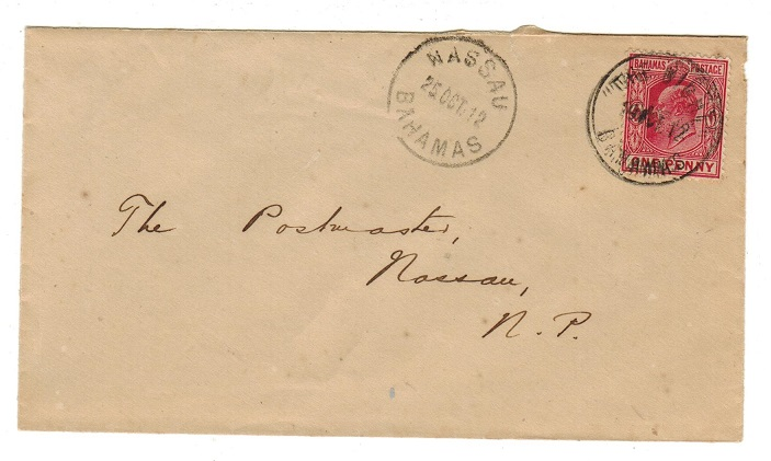 BAHAMAS - 1912 1d rate local cover used at THE BIGHT.