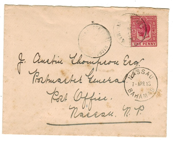 BAHAMAS - 1913 1d rate local cover used at GOVERNORS HARBOUR.