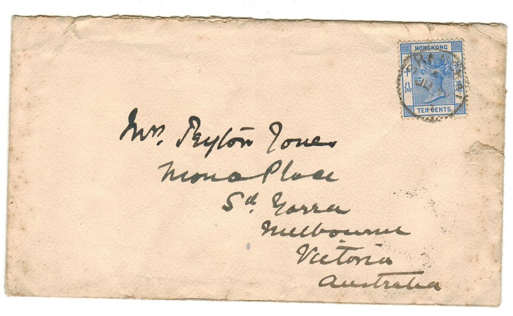 HONG KONG - 1903 10c rate cover to Australia used at SHANGHAI.