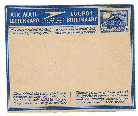SOUTH WEST AFRICA - 1944 3d dull blue