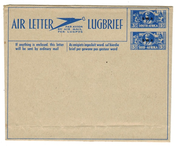 SOUTH WEST AFRICA - 1944 3d+3d blue air letter unused.  H&G 1.