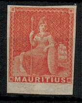 MAURITIUS - 1858 (1/-) vermilion PREPARED BUT UNISSUED adhesive mint.  SG 30.