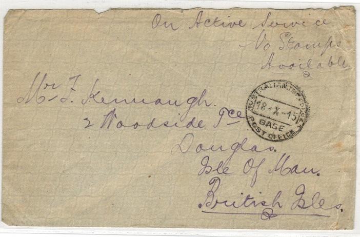 AUSTRALIA - 1915 WWI stampless AUSTRALIAN IMPERIAL FORCES cover to UK.